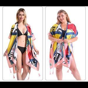 Women's multicolor tassel kimono swimsuit coverup